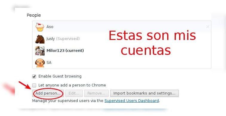 Cuentas de usuario en chrome o el boton para agregar nuevas cuentas